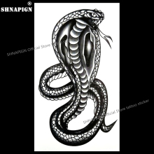 SHNAPIGN Black Mamba Cobra Snake Temporary Tattoo Body Art Arm Flash Tattoo Stickers 17x10cm Waterproof Fake Henna Painless