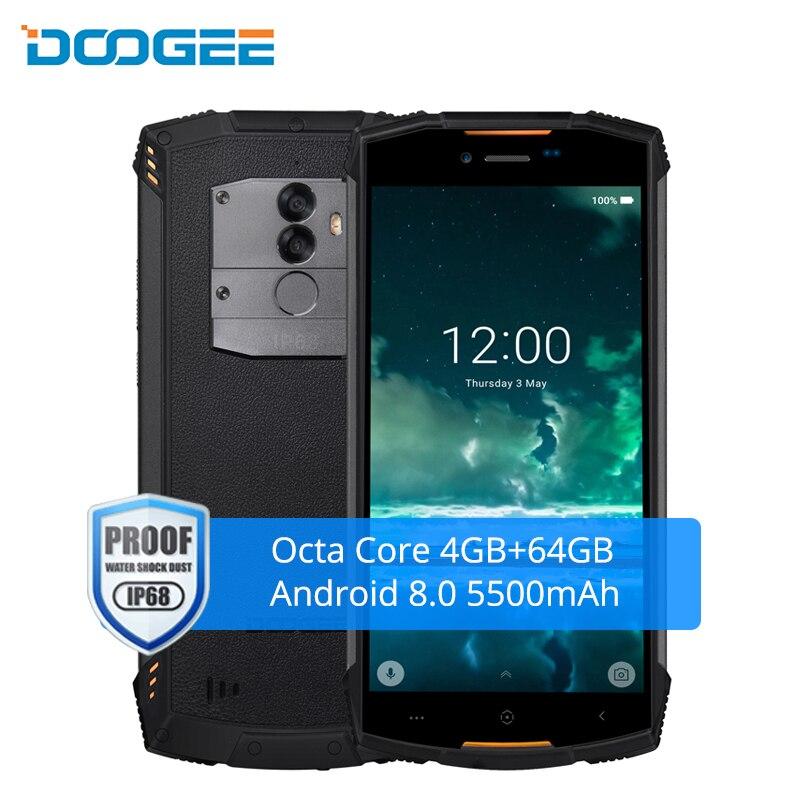 DOOGEE S55 IP68 Водонепроницаемый Смартфон Android 8,0 4G 64 GB Octa Core 5500 mAh 5,5 дюйма Dual Sim 13MP отпечатков пальцев LTE мобильный телефон