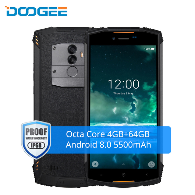 DOOGEE S55 IP68 Waterproof Smartphone Android 8.0 4G 64GB Octa Core 5500mAh 5.5 Inch Dual Sim 13MP Fingerprint LTE Mobile Phone