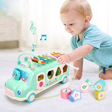 3 in One School Bus Vehicel Developmental Car Toy w/ Building Blocks&Maze Puzzle&Xylophone for Baby Music Shapes Learning Gift(China)