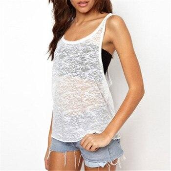 2018 Summer Sexy Women See Through Tank Tops Fashion Sleeveless O Neck Loose Vest Top Black White Casual Shirt Plus Size Blusas gadget