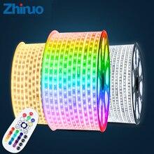 ФОТО ac220v rgb led strip smd5050 high brightness lighting belt neon lights led strips home decor diy christmas decoration maison