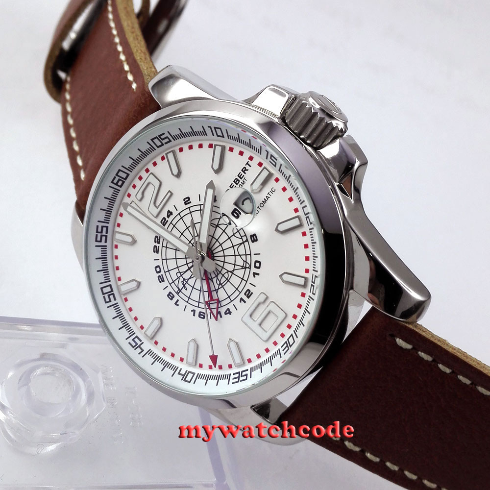 44mm Debert white dial date window GMT automatic leather strap mens watch D1 цена и фото