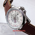44mm Debert white dial date window GMT automatic leather strap mens watch D1