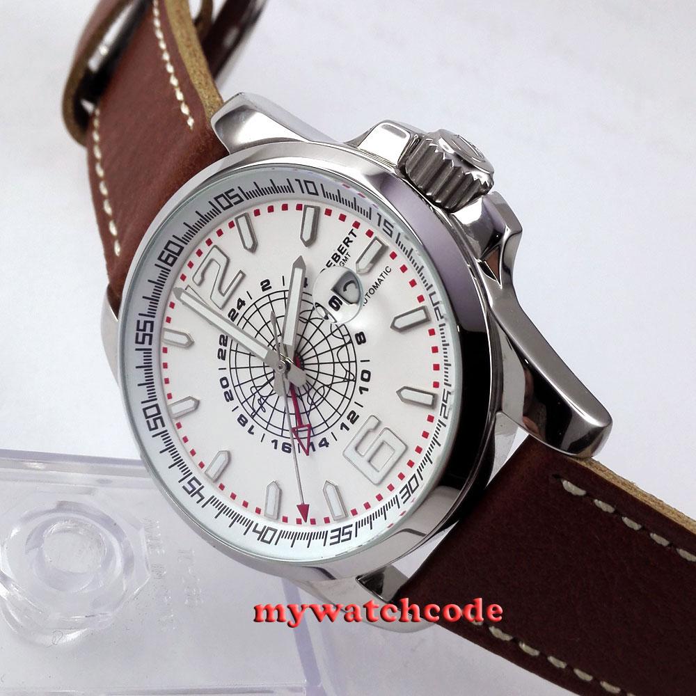 44mm debert esfera blanca fecha ventana GMT automático correa de cuero reloj  para hombre D1 c93d7235652e