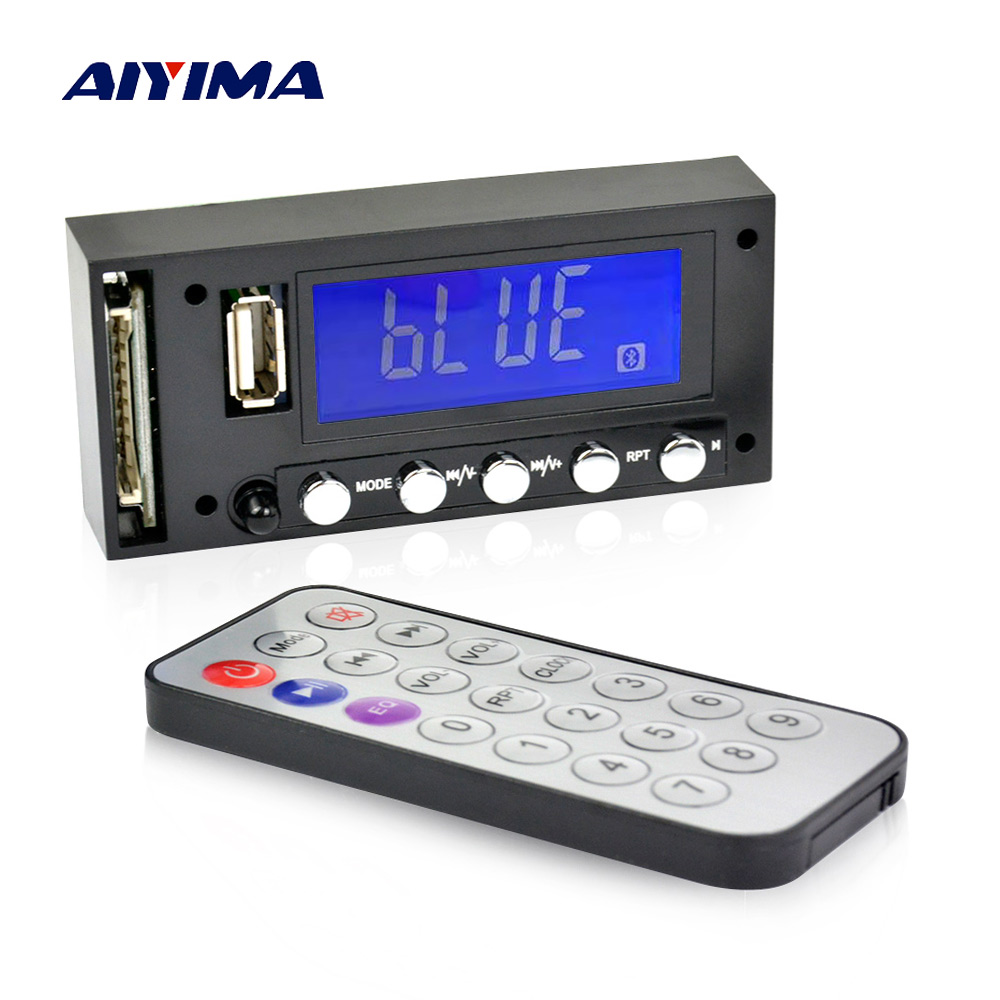 Aiyima Bluetooth MP3 Decoding Board Blue Screen Stereo Output FM USB SD MMC WAV Decoder Record MP3 Player Audio Car цена