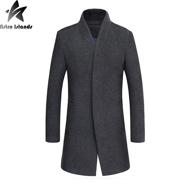 2016 New Arrival Casaco De Lã Homens Sobretudo De Lã Com Algodão Para Dentro manter Homens Quentes Simples Casaco Business Casual Plus Size 4XL MT275