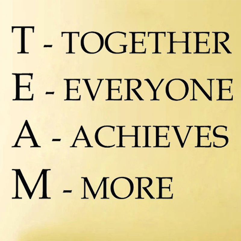 Team Motivational Quote Office Wall Sticker, Together Everyone Achieves More Inspirational vinyl decal Office wall art decor