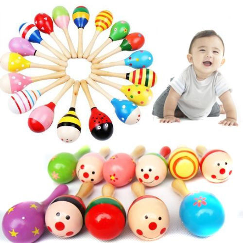 Random Color!! 1 PCS Wooden Maraca Wood Rattles Kids Musical Party Favor Child Baby Shaker Toy