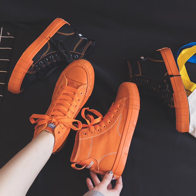 Women Sneakers 2019 Spring New Girls Orange Shoes Canvas High Top Black Lace Up Lady Fashion Casual Shoes Solid Color 35-40
