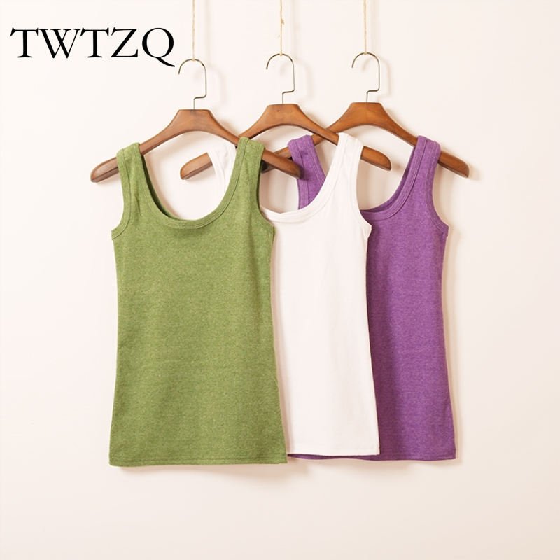 TWTZQ 2017 High Quality Summer Tank Top For Women Camisole Cotton Slim Ladies Thin Vest Strappy