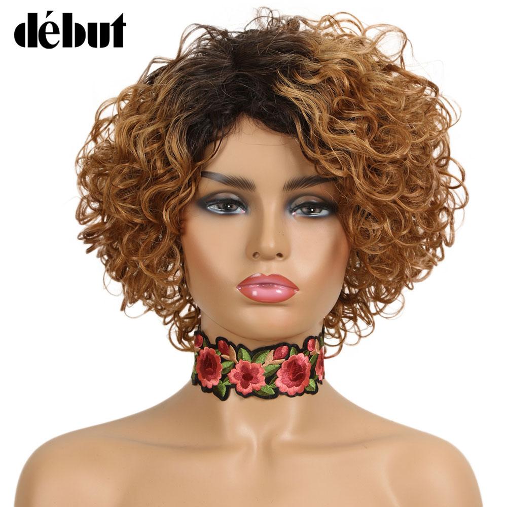 Debut Brazilian Short Curl Human Hair Wigs Remy Short  Wigs 100% Human Hair Sassy Curl Ombre Human Hair Wigs For Black Women