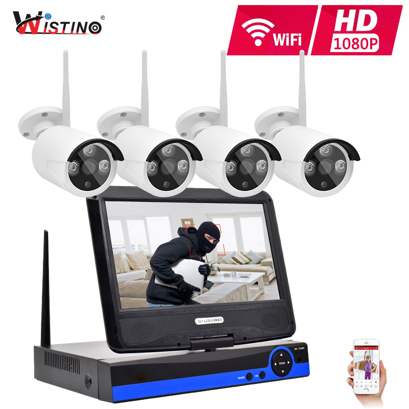 где купить Wistino 4CH Wireless CCTV Security System Kits HD 1080P Wifi Kit IP Camera Outdoor Video Monitor IR LCD NVR Screen Surveillance дешево