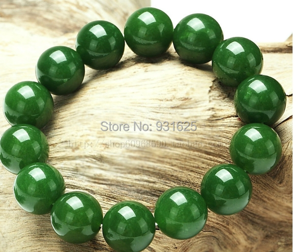 Very Beautiful 10mm Real Green Natural Stone Beads bracelet stretch 7.5  ZV66