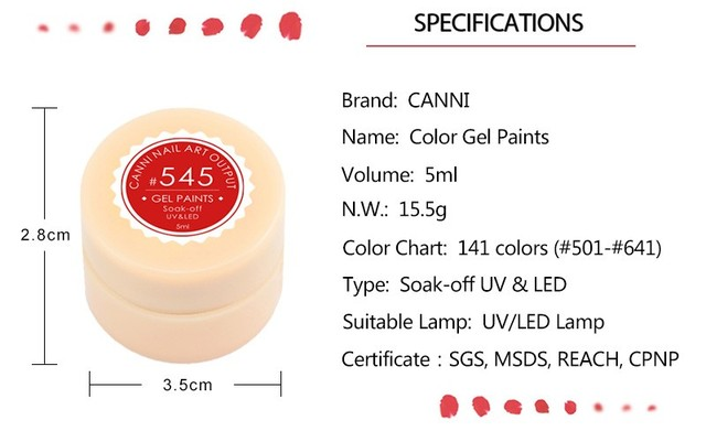 CANNI Painting Gel 5ml/pc LED Lamp 2017 Hot Sale Gel Polish Nail Art Design 141 Pure Solid Colors Nail Gel Varnish Paint UV Gel