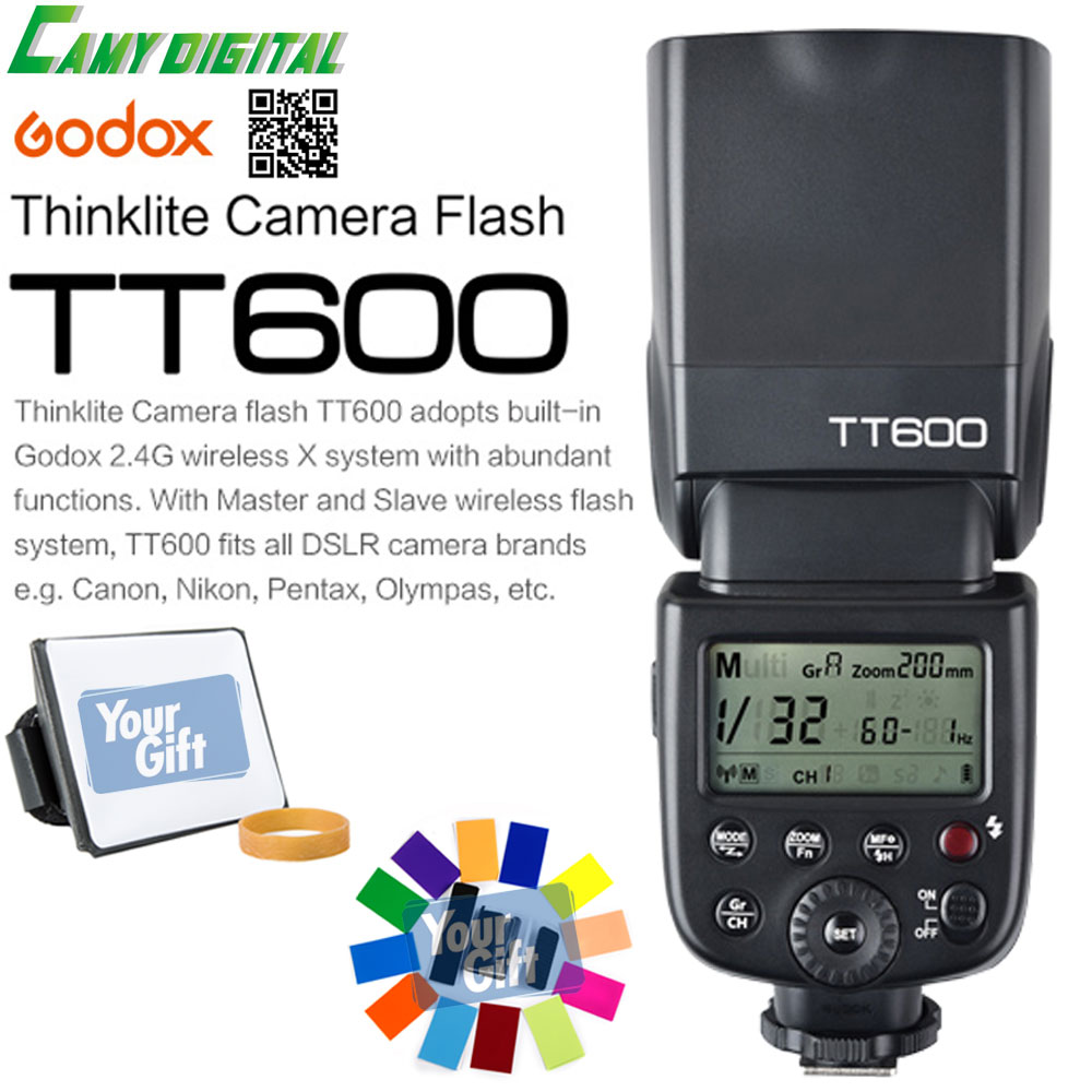 Godox TT600/TT600S GN60 HSS 1/8000s Camera Flash Speedlite 2.4G Wireless X System+Softbox+Color Filter Kit For Canon/Nikon/Sony