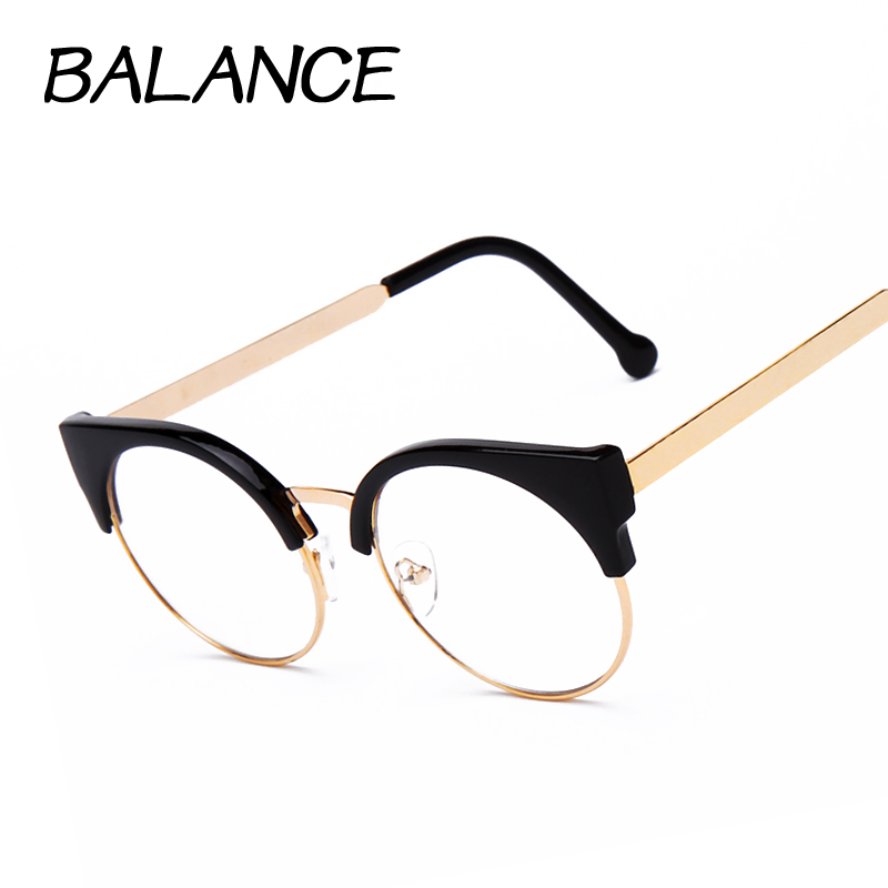 Half Frame Round Eyeglasses : Aliexpress.com : Buy Women cat eye Plain Glasses half ...