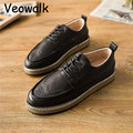 Veowalk Vintage Retro Men's Oxford Shoes Leather Classic Business Shoes Flats For Mens Dress Shoes Causal Breathable Zapatos