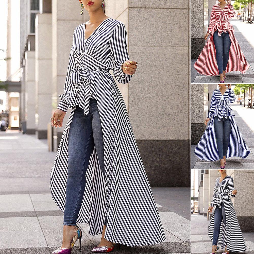 2019 spring and autumn new women's shirt black striped V neck long sleeved work shirt women's office shirt striped dress
