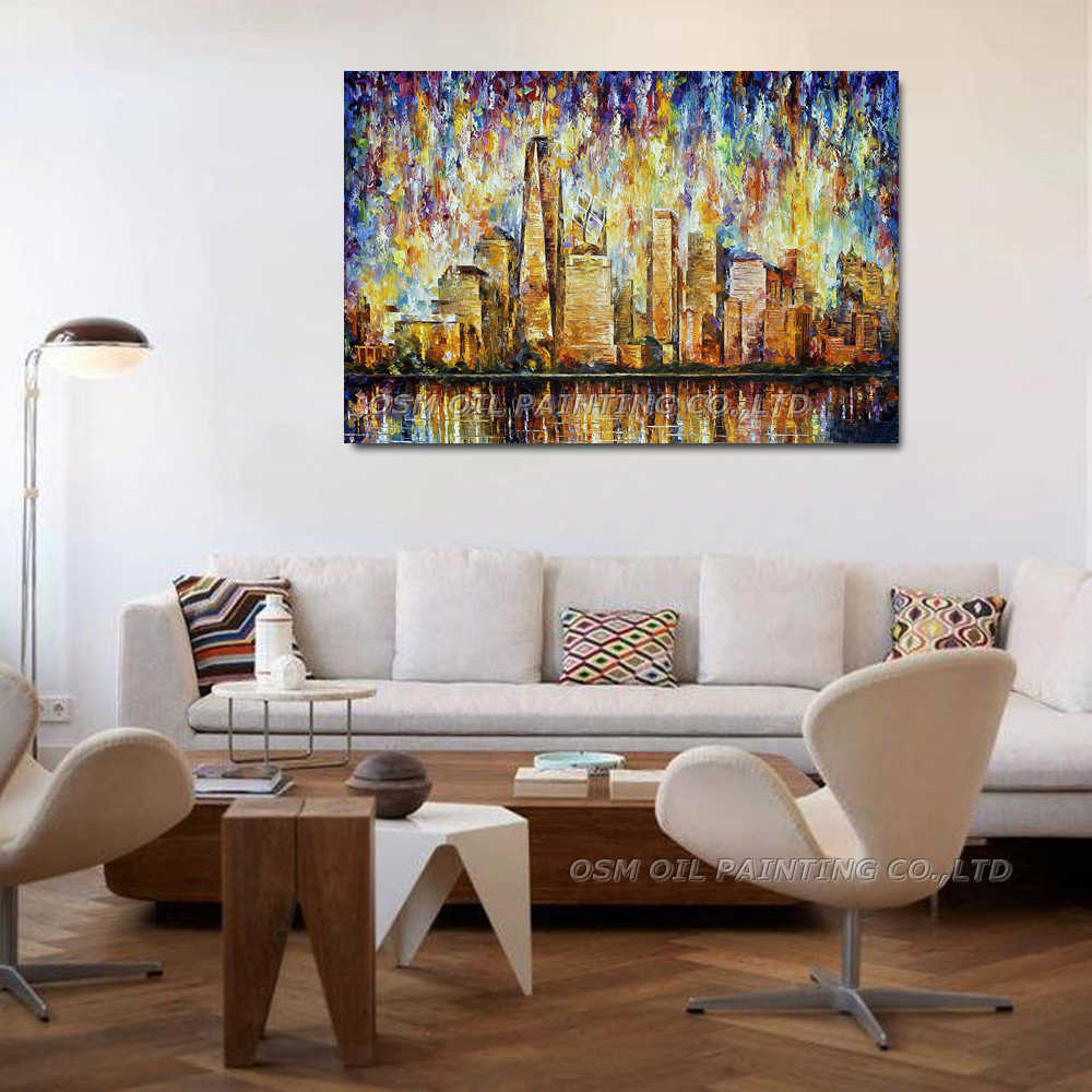 Merveilleux Hand Painted NEW YORK CITY Oil Painting On Canvas PALETTE KNIFE Painting  Wall Picture For Living Room Decor Street Landscape