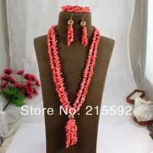 Encanto Africano Coral Collar/Pulsera/Los Pendientes de la Moda Rosa Retoño de Coral Perlas Joyería Conjunto Envío Gratis CJ034