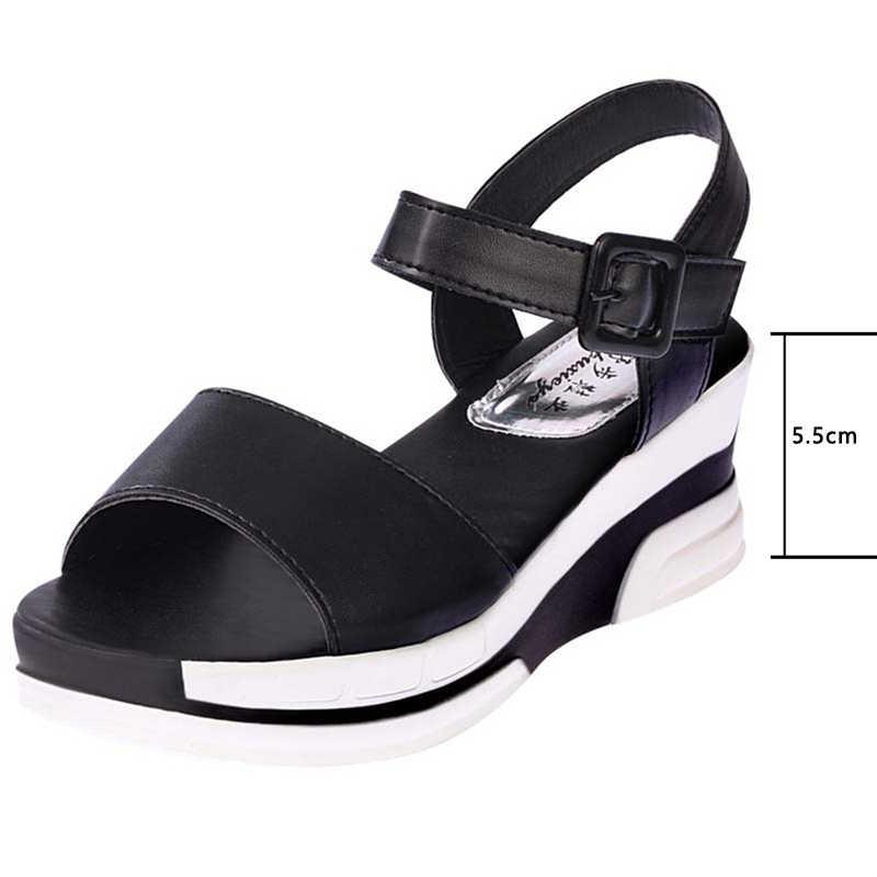 2019 קיץ נעלי אישה פלטפורמת סנדלי נשים עור רך מזדמן בוהן פתוח גלדיאטור טריזים Trifle Mujer נשים נעלי דירות