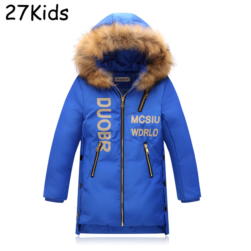90% White Duck Down Teenagers Jackets Quality Handsome Boys Warm Long Fashion Winter Clothing Casual Hooded Coat Girls Parkas russia winter boys girls down jacket boy girl warm thick duck down