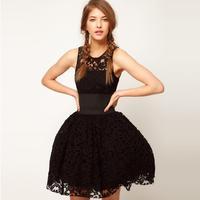 Бесплатная доставка ужин платье 2016 короткая дизайн черный кружева puff вечерние платья бальное платье пром коктейль платье Homecoming Платья
