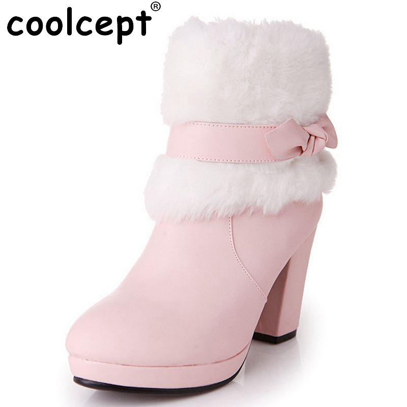 ФОТО oots winter solid Gladiator sonw boots high heels pointed toe women bbowknot platform wedding ankle boots Size 33-39