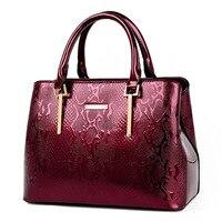 New Fashion Women Leather Handbag Luxury Handbag Women Patent Leather Handbags High Quality Ladies Vintage Serpentine Totes Sac