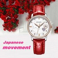 Fashion Beautiful Diamond Female Watch Japanese Movement Women Watch Calendar Waterproof Leather Band Ladies Watches Girl Clock