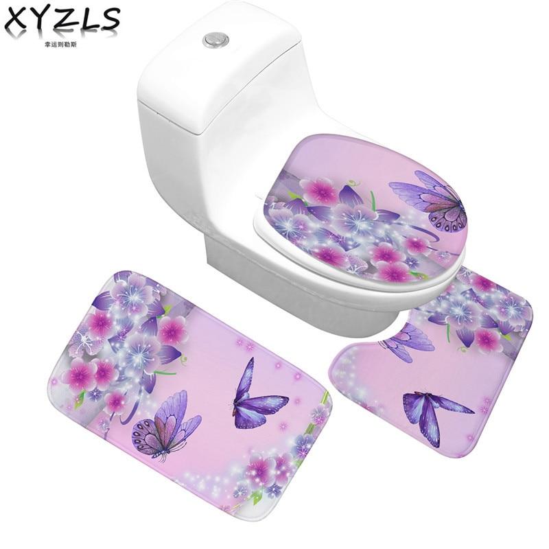 XYZLS 3pcs/set Pastoral Nonslip Flannel Floral Bathroom Mats Anti-Slip Butterfly Toilet Carpet Flower/Leaves Toliet Mats