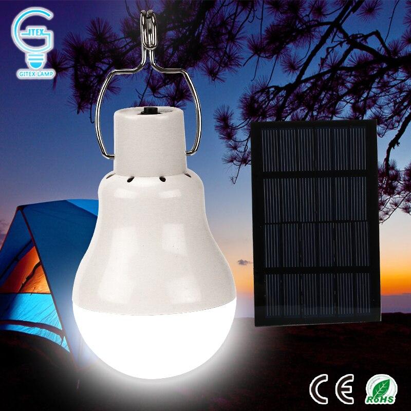 Solare portatile Ha Condotto La Lampada Della Lampadina 15 W 130LM Carica di Energia Solare lampada 5 V Pannello Solare Powered Lampadina Esterna Tenda di Campeggio di Pesca luce