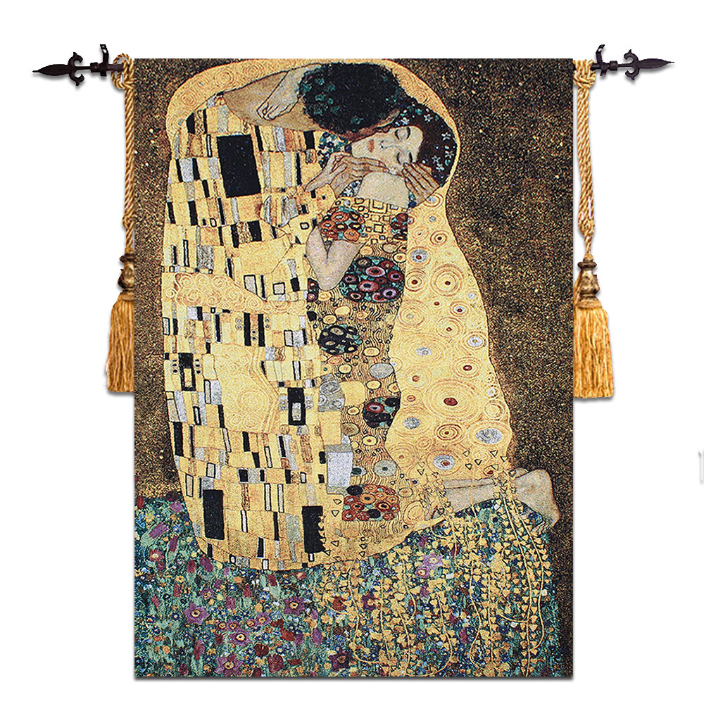 90x140cm Gustav Klimt kiss Wedding gift Symbol of love Wall hanging tapestry Dress women Home jacauard