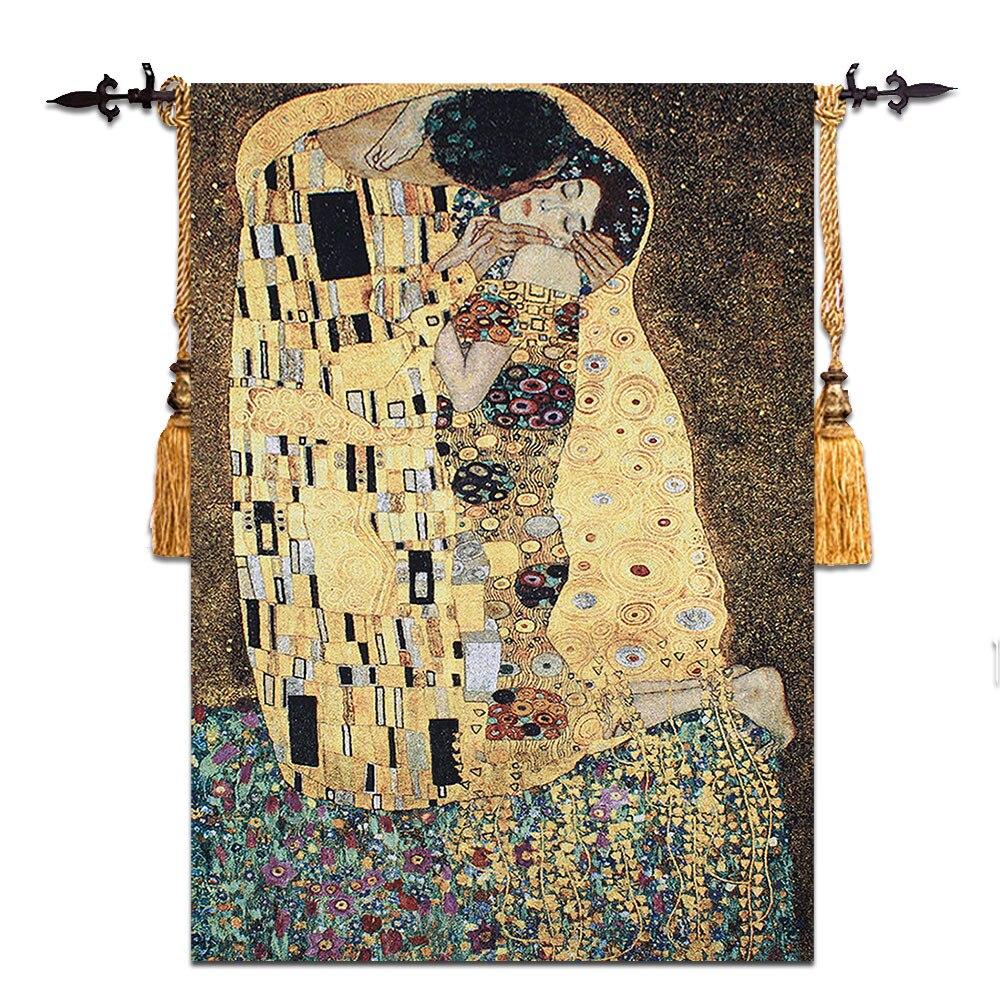 90 × 140センチメートルグスタフ·クリムト キス結婚祝いsymbolの愛壁掛けタペストリードレス女性ホームjacauard生地テキスタイル織り  グループ上の ホーム&ガーデン からの タペストリー の中 1