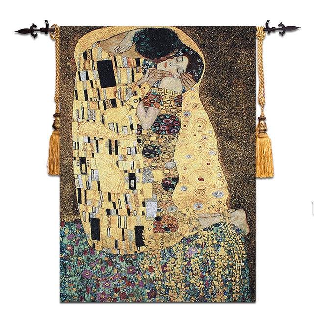 90x140cm Gustav Klimt - kiss Wedding gift Symbol of love Wall hanging tapestry Dress women Home jacauard fabric textile Aubusson