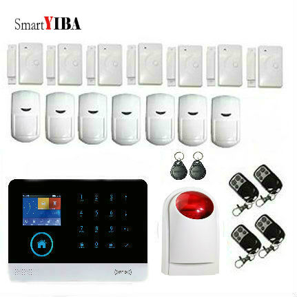 SmartYIBA WIFI Home Burglar Security Alarm System Wireless GSM SMS Alarm With RFID Keyfobs Strobe Siren Alarm Motion Detection wireless smoke fire detector for wireless for touch keypad panel wifi gsm home security burglar voice alarm system