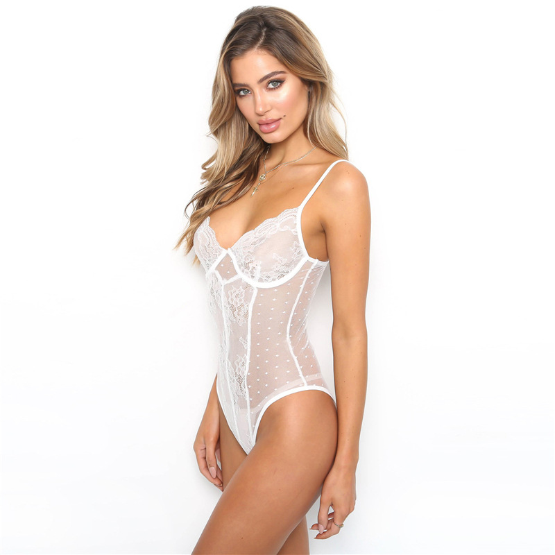 Sexy Transparent Mesh Lace Embroidered Floral Women's Jumpsuit  V Neck Sleeveless Backless Bodysuit Ladies Spaghetti Strap Rompe