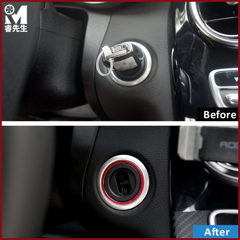 Car styling Auto Start Stop Engine Push Button Key Trim Ring Stickers For  Mercedes Benz C Class W205 C180 C200 C250 C300 C400 -in Automotive Interior  ... b8839f3471ef