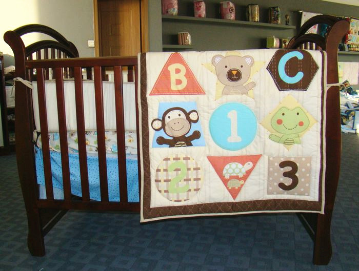 ФОТО discount! 3pcs embroidery baby cot bedding set crib bed set cartoon lbaby crib set,include(bumper+duvet+bed cover)