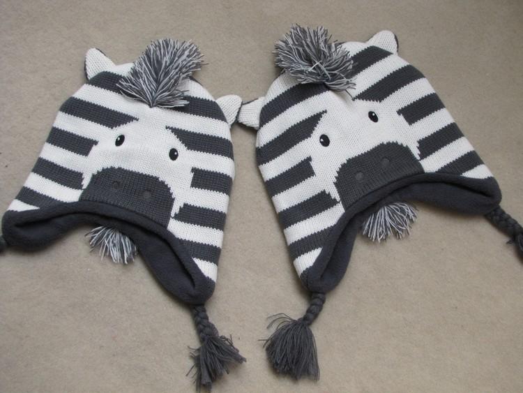 Baby Boys Winter Warm Hats Cartoon Zebra Pattern Caps Kids Knitted Caps Ear Flaps Beanies Children's Girls Cute Animal Sckullies 19