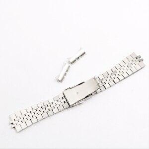 Image 2 - Rolamy 22 มิลลิเมตรนาฬิกาสายคล้องคอสแตนเลสสตีล VINTAGE Jubilee สร้อยข้อมือคู่ Push Clasp Hollow Curved End Solid Screw Links