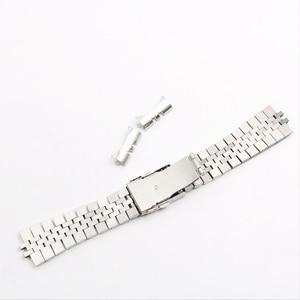 Image 2 - Rolamy 22 ملليمتر حزام (استيك) ساعة حزام الفولاذ المقاوم للصدأ خمر اليوبيل سوار مزدوجة دفع المشبك الجوف منحني نهاية الصلبة المسمار الروابط