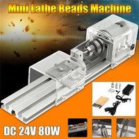 DC 24V 80W Mini Lathe Beads Machine Woodworking DIY Lathe Standard Set Polishing Cutting Drill Rotary