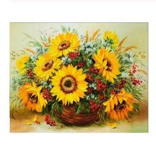 Diamond Painting Sunflower Full Circle Embroidered Rhinestone Homedecoration