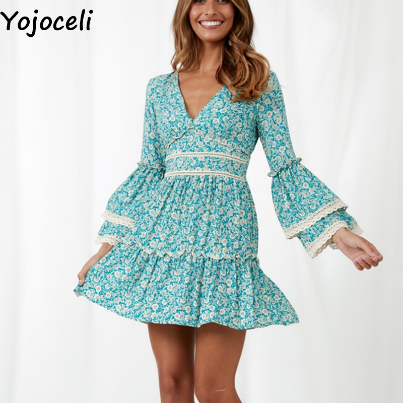 Cuerly Sexy floral print short ruffle dress women Elegant party mini boho beach dress female Spring summer casual dresses L5 in Dresses from Women 39 s Clothing