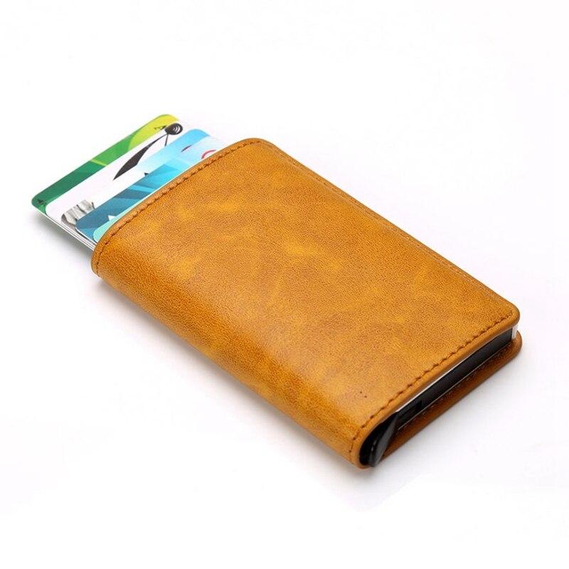 Metal Men Card Holder RFID Aluminium Alloy Credit Card Holder PU Leather Wallet Antitheft Men Wallets Automatic Slide Card Case slide wallet