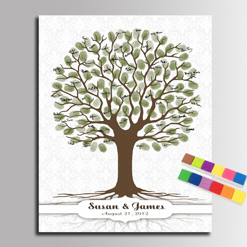 Diy Fingerprint Signature Tree Canvas Painting Wedding Decoration