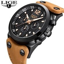 2018 LIGE جديد رجالي ساعات رياضية عسكرية كرونوغراف كوارتز ساعة رجل جلد طبيعي مقاوم للماء ساعة معصم Relogio Masculino
