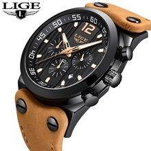 LIGE montre de sport pour hommes, chronographe militaire, horloge à Quartz, en cuir véritable, étanche, nouvelle collection 2018